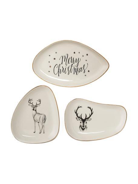 Set 3 piatti da portata in gres con motivo invernale Noel, Gres, Bianco,  nero,  dorato, Lung. 18 x Larg. 12 cm