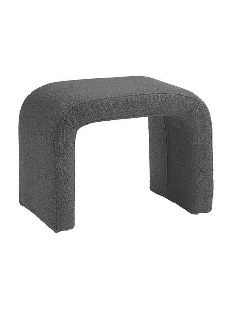 Bouclé kruk Penelope, Bekleding: bouclé (100% polyester), Frame: metaal, multiplex, Bouclé grijs, 61 x 46 cm