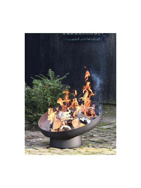 Schuine vuurschaal Dannie, Gecoat metaal, Zwart, 50 x 39 cm