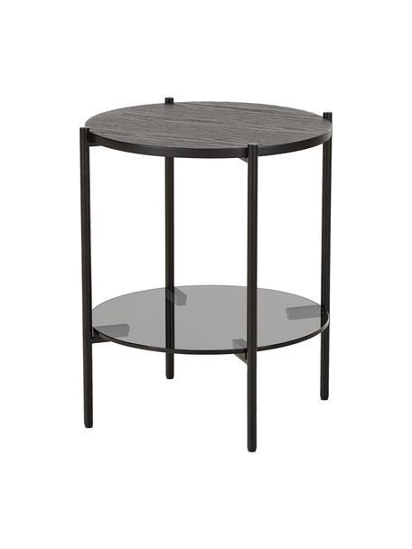 Tavolino con piano in vetro Valentina, Piano d'appoggio: vetro, Mensola: pannello di fibra a media, Struttura: metallo verniciato a polv, Nero, Ø 44 x Alt. 50 cm
