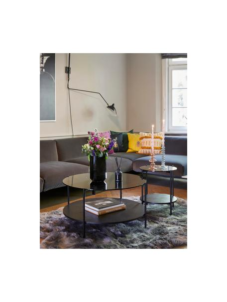 Stolik pomocniczy ze szklanym blatem Valentina, Blat: szkło, Stelaż: metal malowany proszkowo, Czarny, Ø 44 x W 50 cm
