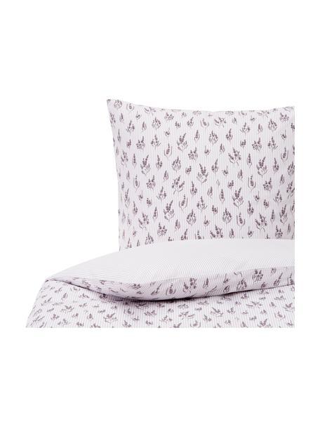 Pościel z bawełny Yane, Lila, biały, 135 x 200 cm + 1 poduszka 80 x 80 cm