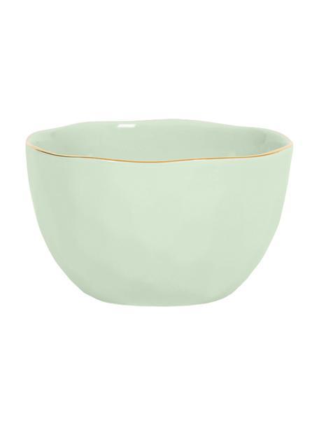 Kom Good Morning in mintgroen met goudkleurige rand, Porselein, Mint, goudkleurig, Ø 14 cm