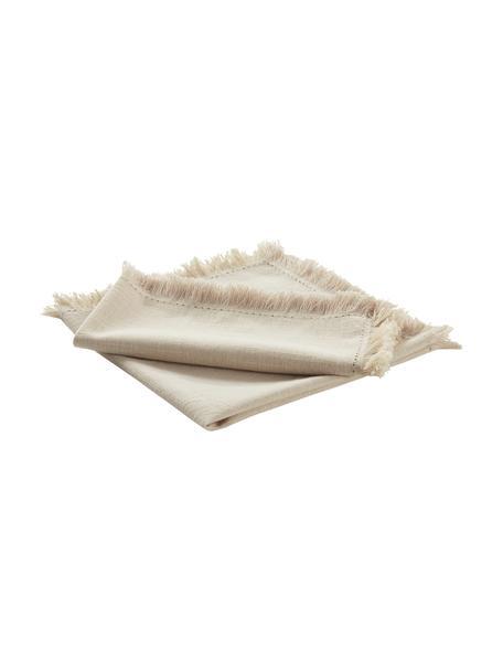 Stoff-Servietten Henley mit Fransen, 2 Stück, 100% Baumwolle, Beige, 45 x 45 cm