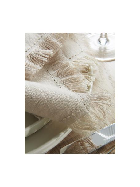 Stoffen servetten Henley met franjes, 2 stuks, 100% katoen, Beige, 45 x 45 cm