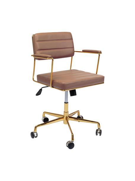 Biurowe krzesło obrotowe ze sztucznej skóry Dottore, Tapicerka: sztuczna skóra (poliureta, Stelaż: aluminium polerowane, Brązowy, odcienie złotego, S 44 x G 50 cm