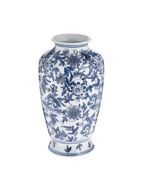 Grosse Deko-Vase Lin aus Porzellan, Porzellan, nicht wasserdicht, Blau, Weiss, Ø 16 x H 31 cm