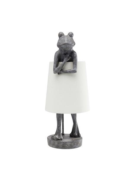 Tafellamp Animal Frog , Lampenkap: linnen, Lampvoet: polyresin, Stang: gepoedercoat staal, Grijs, wit, 23 x 58 cm