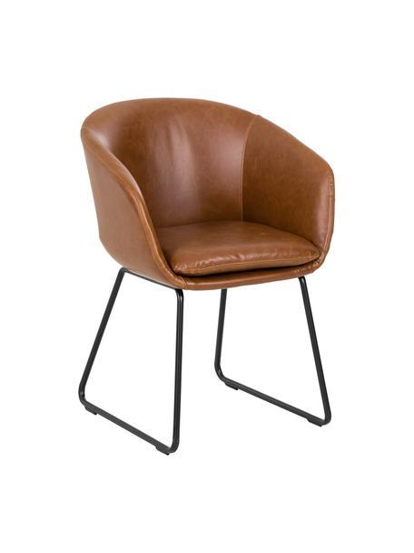 Sedia in similpelle imbottita con braccioli Juri, Gambe: metallo verniciato a polv, Similpelle color cognac, Larg. 58 x Prof. 58 cm