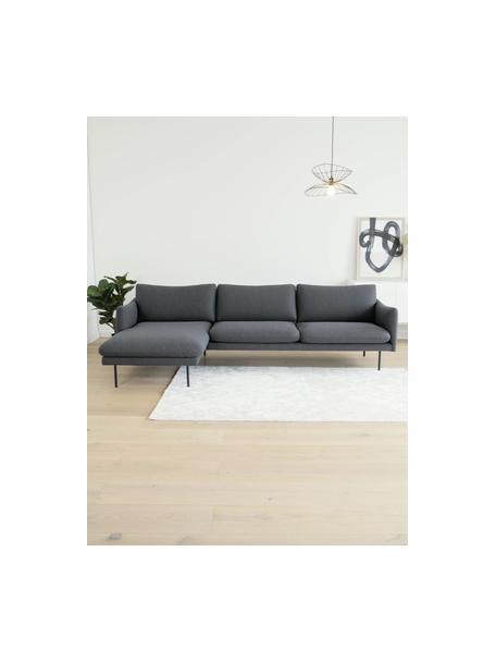 Hoekbank Moby in donkergrijs met metalen poten, Bekleding: polyester, Frame: massief grenenhout, Poten: gepoedercoat metaal, Donkergrijs, B 280 x D 160 cm