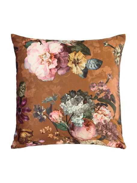 Fluwelen kussen Fleur met bloemmotief, met vulling, Bekleding: 100% polyester fluweel, Bruin, multicolour, 50 x 50 cm