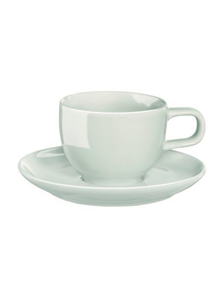 Tazzina da caffè con piattino verde menta lucido Kolibri 6 pz, Porcellana, Verde menta, Ø 6 x Alt. 12 cm