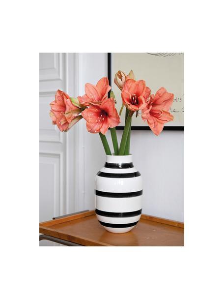 Grote handgemaakte design vaas Omaggio, Keramiek, Zwart, wit, Ø 20 x H 31 cm