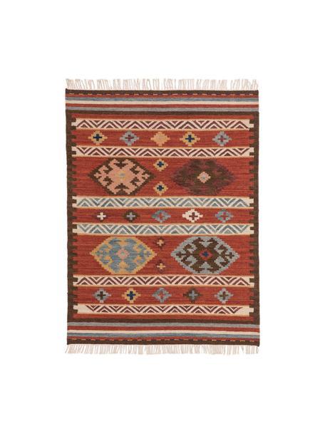 Ręcznie tkany dywan/kilim z wełny Zohra, Czerwony, wielobarwny, S 120 x D 170 cm (Rozmiar S)