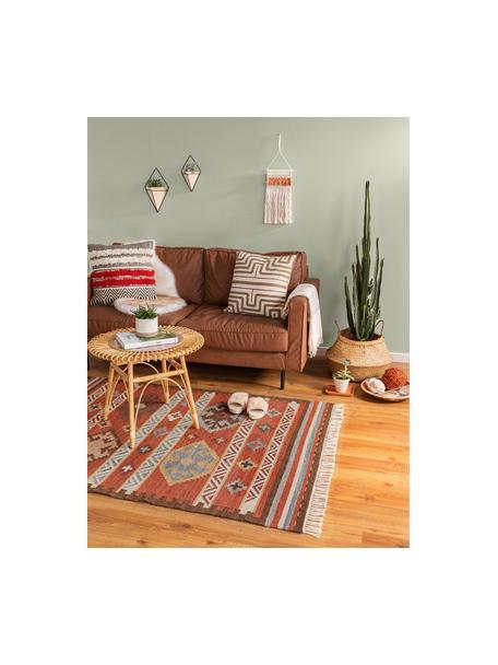 Handgewebter Kelimteppich Zohra aus Wolle, Flor: 90% Wolle, 10% Baumwolle, Rot, Mehrfarbig, B 120 x L 170 cm (Größe S)