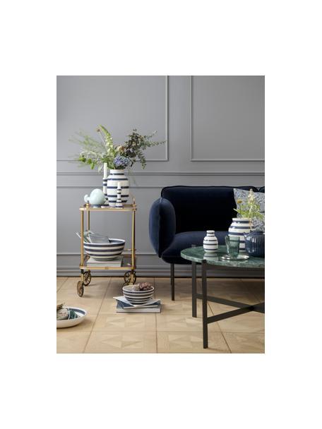Kleine handgefertigte Design-Vase Omaggio, Keramik, Weiss, Stahlblau, Ø 8 x H 13 cm