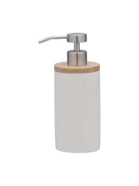 Dosatore di sapone Grace con legno di bambù, Recipiente: poliresina, Coperchio: legno di bambù, Testa della pompa: materiale sintetico, Bianco, Ø 7 x Alt. 18 cm