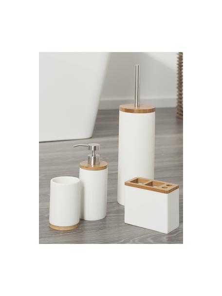 Dosatore di sapone con decorazione in legno di bambù Grace, Recipiente: poliresina, Coperchio: legno di bambù, Testa della pompa: materiale sintetico, Bianco, Ø 7 x Alt. 18 cm