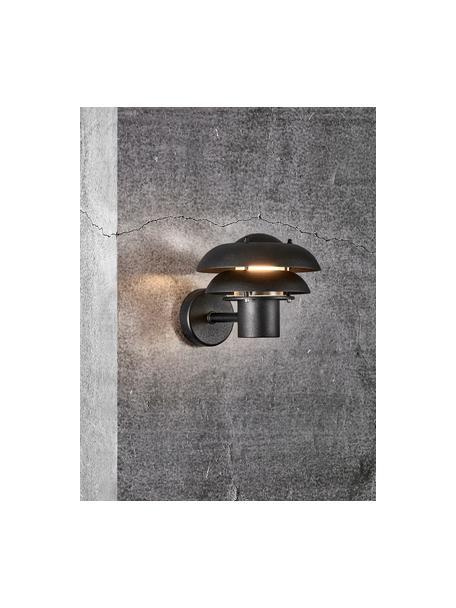 Outdoor wandlamp Kurnos, Lampenkap: gecoat metaal, Diffuser: kunststof, Zwart, 20 x 18 cm