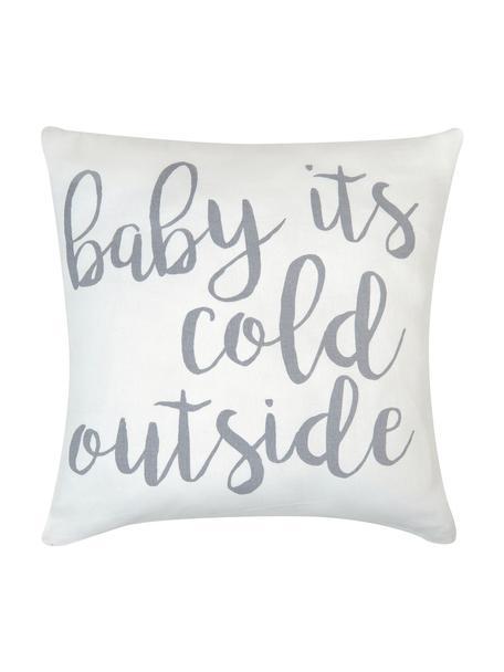 Kissenhülle Cold Outside mit Schriftzug, Baumwolle, Panamabindung, Grau,Ecru, 40 x 40 cm