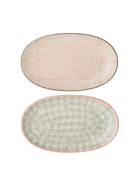 Set 2 piatti da portata con motivo piccolo Cécile, Ceramica, Multicolore, Lung. 22 x Larg. 13 cm