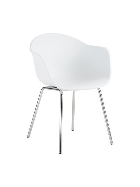 Silla con reposabrazos Claire, Asiento: plástico, Patas: metal galvanizado, Blanco, plata, An 60 x F 54 cm