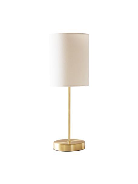 Lampada da tavolo con paralume in tessuto Seth 2 pz, Paralume: tessuto, Base della lampada: metallo ottonato, Struttura: metallo ottonato, Bianco, ottonato, Ø 15 x Alt. 45 cm