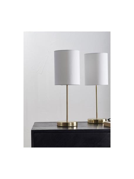 Lámpara de noche Seth, 2uds., estilo clásico, Pantalla: tela, Estructura: metal latón, Cable: plástico, Blanco, latón, Ø 15 x Al 45 cm