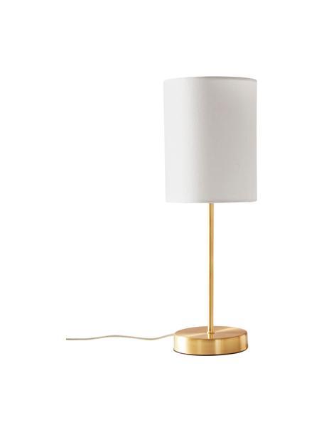 Klassieke nachtlampen Seth, 2 stuks, Lampenkap: textiel, Lampvoet: vermessingd metaal, Wit, messingkleurig, Ø 15 x H 45 cm