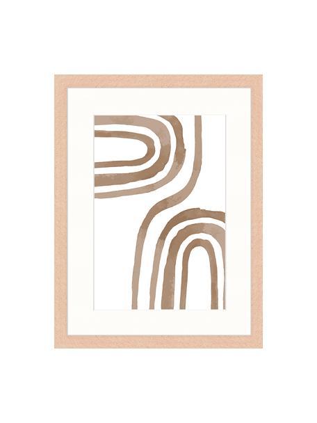 Oprawiony druk cyfrowy Modern Poster, Brązowy, biały, S 33 x W 43 cm