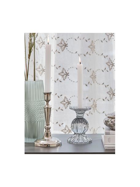 Handgefertigter Kerzenhalter Eliane, Metall, beschichtet, Silberfarben, Ø 11 x H 21 cm