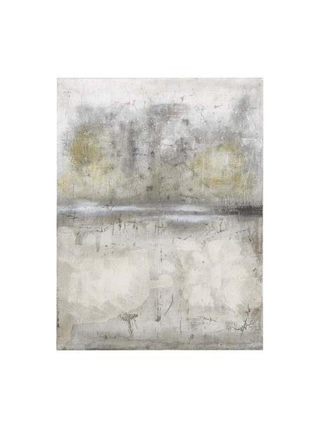Stampa su tela dipinta a mano Shadows, Immagine: stampa digitale su tela, , Barella: legno, Grigio, Larg. 90 x Alt. 120 cm