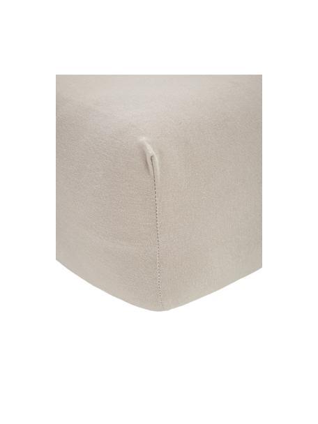 Prześcieradło z gumką na topper z jerseu i elastanem Lara, 95% bawełna, 5% elastan, Taupe, S 90-100 x D 200 cm