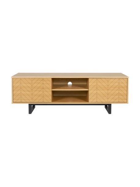 Tv-meubel Camden met deuren en eikenhoutfineer, Frame: MDF met eikenhoutfineer, Poten: gelakt berkenhout, Eikenhout, 150 x 50 cm