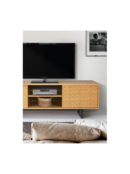 Mobile TV con ante e finitura di quercia Camden, Piedini: legno di betulla vernicia, Legno di quercia, Larg. 150 x Alt. 50 cm