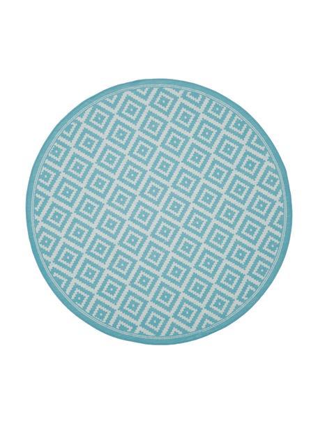 Rond in- en outdoor vloerkleed met patroon Miami in turquoise/wit, 86% polypropyleen, 14% polyester, Wit, turquoise, Ø 140 cm (maat M)