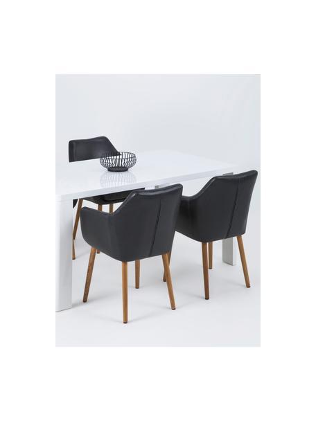Kunstleren armstoel Nora met houten poten, Bekleding: kunstleer (polyurethaan), Poten: eikenhout, Bekleding: zwart. Frame: eikenhoutkleurig, B 56 x D 55 cm