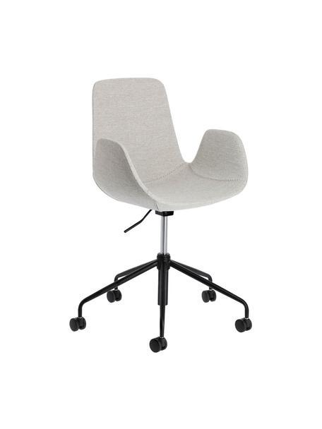 Tapicerowane krzesło biurowe Yolanda, obrotowe, Tapicerka: poliester, Stelaż: stal, powlekany, Szary, czarny, S 66 x G 72 cm