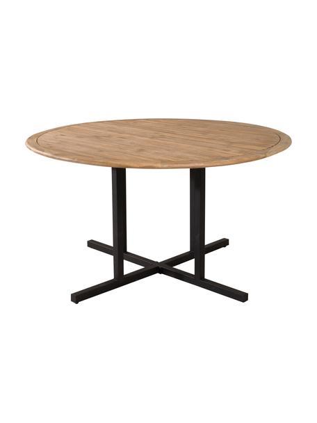 Houten tuintafel Cruz, Tafelblad: acaciahout, Frame: gecoat metaal, Bruin, zwart, Ø 140 cm