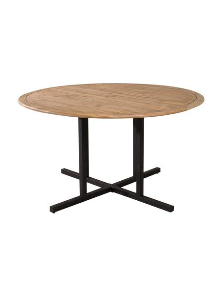 Tavolo da giardino in legno Cruz, Piano d'appoggio: legno di acacia, Struttura: metallo rivestito, Marrone, nero, Ø 140 cm