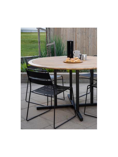 Mesa de madera para exterior Cruz, Tablero: madera de acacia, Estructura: metal recubierto, Marrón, negro, Ø 140 cm