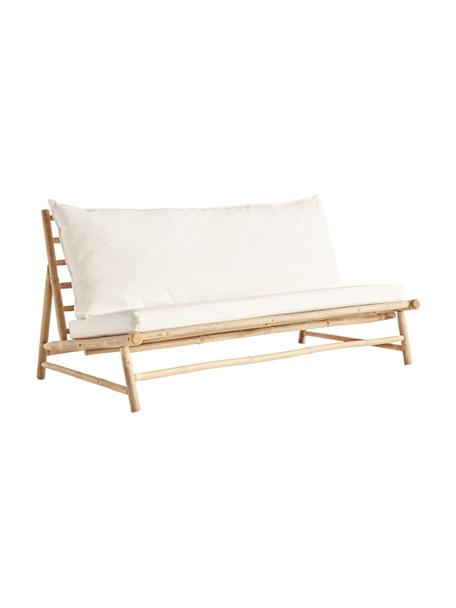 Bamboe loungebank Bamslow met bekleding, Frame: bamboe, Bekleding: 100% katoen, Wit, bruin, 160 x 87 cm