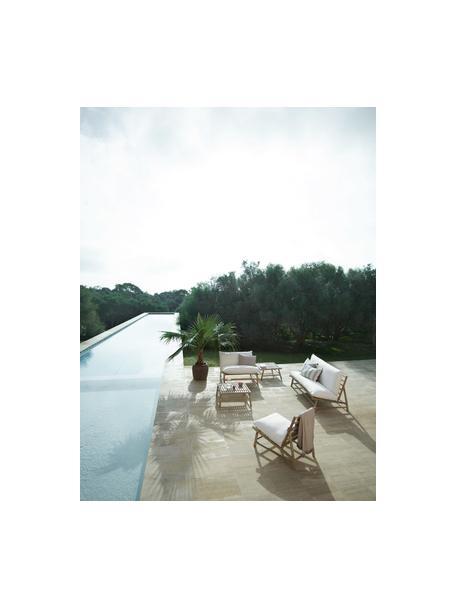 Sofá lounge de bambú Bamslow, Estructura: madera de bambú, Funda: 100%algodón, Blanco, marrón, An 160 x F 87 cm