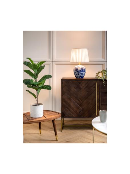 Lampada da tavolo in ceramica Göteborg, Base della lampada: ceramica, Paralume: poliestere, Base della lampada: blu, bianco Paralume: bianco, Ø 31 x Alt. 48 cm