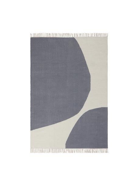 Handgewebter Wollteppich Stones mit abstraktem Muster, 81% Wolle, 19% Baumwolle, Gebrochenes Weiß, Stahlgrau, B 160 x L 230 cm (Größe M)