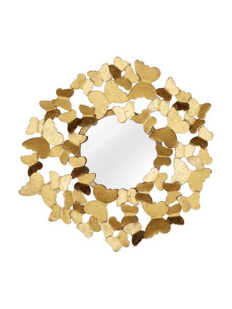 Specchio da parete con cornice in metallo dorato Butterfly, Cornice: metallo, rivestito, Retro: pannelli di fibra a media, Superficie dello specchio: lastra di vetro, Dorato, Ø 40 cm x Prof. 5 cm