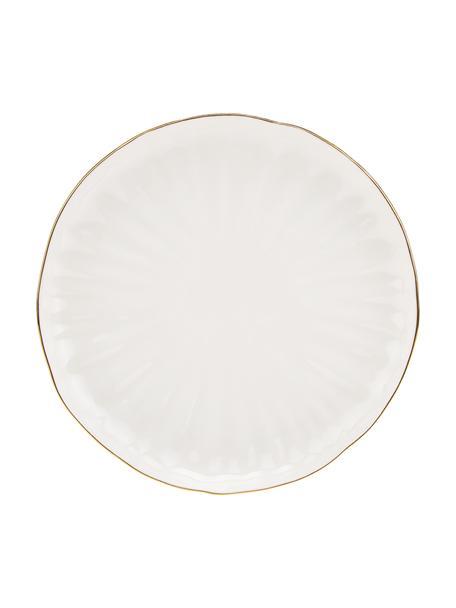Frühstücksteller Sali aus Porzellan mit goldenem Rand und Relief, 2 Stück, Porzellan, Weiss, Ø 21 cm