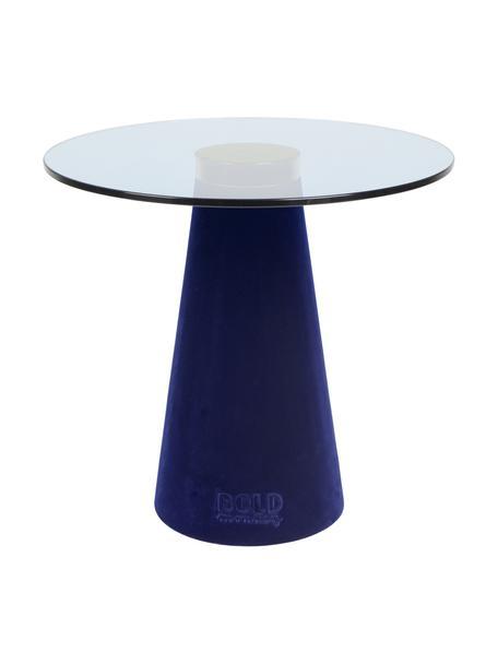 Stolik pomocniczy ze szklanym blatem Leader Of The Fanclub, Blat: szkło hartowane, Noga: poliresing powlekany, alu, Niebieski, Ø 40 x W 39 cm