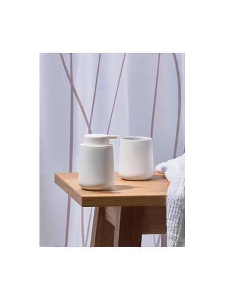 Zeepdispenser Ume van keramiek, Houder: keramiek overtrokken met , Mat wit, Ø 8 x H 13 cm