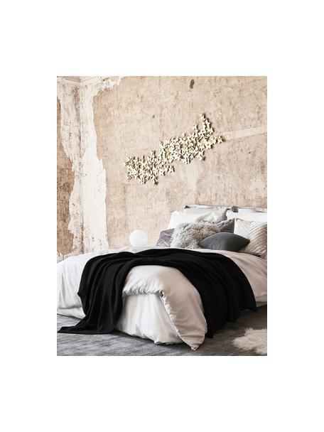 Manta de punto de algodón ecológico Adalyn, 100%algodón ecológico, certificado GOTS, Negro, An 150 x L 200 cm